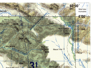 Reduced fragment of topographic map en--jog--250k--na20-04--(1990)--N004-00_W061-30--N003-00_W060-00 in area of Rio Surumu; towns and cities Pataiso, Boa Esperanca, Simiao