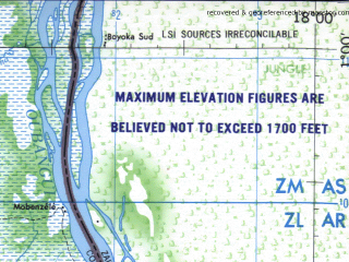 Reduced fragment of topographic map en--jog--250k--na33-16--(1966)--N001-00_E016-30--N000-00_E018-00; towns and cities Bolumbu, Mobenzele