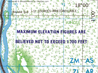 Reduced fragment of topographic map en--jog--250k--na33-16--(1975)--N001-00_E016-30--N000-00_E018-00; towns and cities Bolumbu, Mobenzele