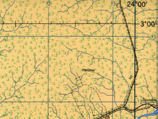 Reduced fragment of topographic map en--jog--250k--na34-08--(1966)--N003-00_E022-30--N002-00_E024-00 in area of Itimbiri; towns and cities Boyongo, Ibembo, Meboko