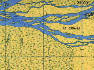 Reduced fragment of topographic map en--jog--250k--na34-10--(1966)--N002-00_E019-30--N001-00_E021-00; towns and cities Bolafa, Lisala, Bolumboloko