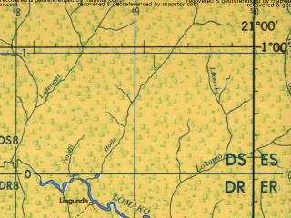 Reduced fragment of topographic map en--jog--250k--na34-14--(1966)--N001-00_E019-30--N000-00_E021-00; towns and cities Botoma, Balangala, Embondo