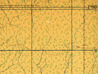 Reduced fragment of topographic map en--jog--250k--na35-13--(1966)--N001-00_E024-00--N000-00_E025-30 in area of Lomami; towns and cities Kisangani, Yambela, Baulo, Yangambi