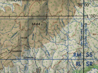 Reduced fragment of topographic map en--jog--250k--na35-16--(1966)--N001-00_E028-30--N000-00_E030-00; towns and cities Muli-matiso, Katola, Nionga