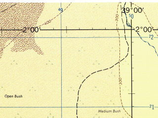 Reduced fragment of topographic map en--jog--250k--na37-10--(1967)--N002-00_E037-30--N001-00_E039-00; towns and cities Merti