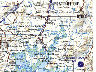Reduced fragment of topographic map en--jog--250k--nb17-02--(1990)--N008-00_W082-30--N007-00_W081-00; towns and cities Mamey, Rosario