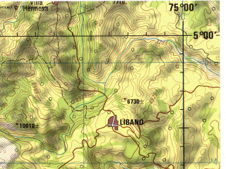 Reduced fragment of topographic map en--jog--250k--nb18-14--(1992)--N005-00_W076-30--N004-00_W075-00; towns and cities Pereira, Ibague, Armenia, Tulua, Cartago