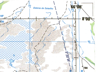 Reduced fragment of topographic map en--jog--250k--nb19-04--(1992)--N008-00_W067-30--N007-00_W066-00; towns and cities San Fernando De Apure, Cunaviche, Guayabal, La Urbania
