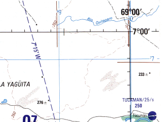 Reduced fragment of topographic map en--jog--250k--nb19-06--(1992)--N007-00_W070-30--N006-00_W069-00 in area of Rio Casanare; towns and cities Coronadena, Cravo Norte, Culebra