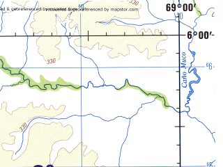 Reduced fragment of topographic map en--jog--250k--nb19-10--(1992)--N006-00_W070-30--N005-00_W069-00; towns and cities Puerto Nuevo