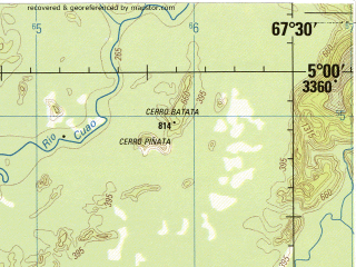 Reduced fragment of topographic map en--jog--250k--nb19-15--(1992)--N005-00_W069-00--N004-00_W067-30 in area of Rio Vichada; towns and cities Arebe, Iribira, Monduapo