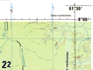 Reduced fragment of topographic map en--jog--250k--nb20-03--(1992)--N008-00_W063-00--N007-00_W061-30; towns and cities El Callao, Ave Chica, Mata En Medio, Corrales