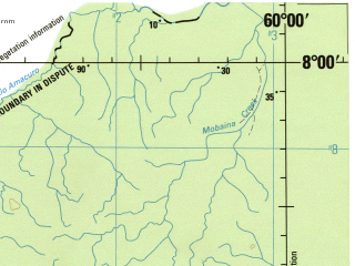 Reduced fragment of topographic map en--jog--250k--nb20-04--(1992)--N008-00_W061-30--N007-00_W060-00; towns and cities New, Simiriundui, Towakaima