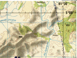 Reduced fragment of topographic map en--jog--250k--nb20-15--(1992)--N005-00_W063-00--N004-00_W061-30; towns and cities Apoipo, Asiasito, Icabaru