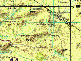 Reduced fragment of topographic map en--jog--250k--nb29-05--(1990)--N007-00_W012-00--N006-00_W010-30; towns and cities Monrovia, Bomi Hills, Paynesville, Tubmanburg, Gardnersville