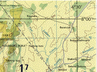 Reduced fragment of topographic map en--jog--250k--nb30-01--(1966)--N008-00_W006-00--N007-00_W004-30; towns and cities Bouake, Agbao, Didievi, Sakassou
