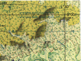 Reduced fragment of topographic map en--jog--250k--nb30-03--(1977)--N008-00_W003-00--N007-00_W001-30; towns and cities Sunyani, Wenchi, Berekum, Techiman, Bechem