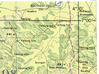 Reduced fragment of topographic map en--jog--250k--nb30-05--(1982)--N007-00_W006-00--N006-00_W004-30 in area of Lac De Taabo; towns and cities Gagnoa, Yamoussoukro, Dimbokro, Toumodi, Bouafle