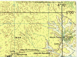Reduced fragment of topographic map en--jog--250k--nb30-09--(1982)--N006-00_W006-00--N005-00_W004-30 in area of Lagune Tadio, Nzi; towns and cities Divo, Lakota, Ndouci, Sikinssi, Guitri
