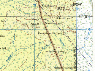 Reduced fragment of topographic map en--jog--250k--nb30-10--(1982)--N006-00_W004-30--N005-00_W003-00; towns and cities Abidjan, Dabou, Grand-bassam, Aboisso, Bingerville