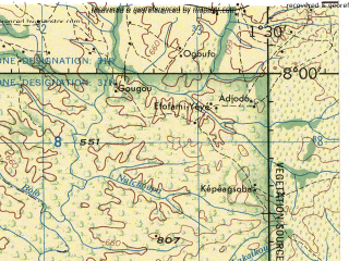 Reduced fragment of topographic map en--jog--250k--nb31-01--(1966)--N008-00_E000-00--N007-00_E001-30; towns and cities Atakpame, Badou, Hohoe, Anie, Jasikan