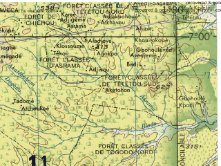 Reduced fragment of topographic map en--jog--250k--nb31-05--(1966)--N007-00_E000-00--N006-00_E001-30; towns and cities Lome, Ho, Kpalime, Tsevie, Aflao