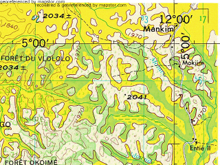 Reduced fragment of topographic map en--jog--250k--nb32-16--(1967)--N005-00_E010-30--N004-00_E012-00 in area of Noun; towns and cities Kon