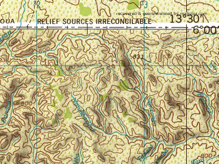 Reduced fragment of topographic map en--jog--250k--nb33-09--(1966)--N006-00_E012-00--N005-00_E013-30; towns and cities Metep, Bougere, Makouri