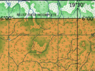 Reduced fragment of topographic map en--jog--250k--nb34-09--(1966)--N006-00_E018-00--N005-00_E019-30; towns and cities Griko, Libi I