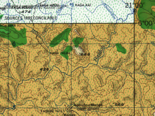 Reduced fragment of topographic map en--jog--250k--nb34-10--(1966)--N006-00_E019-30--N005-00_E021-00; towns and cities Pama, Pierlat, Bakema Dengou