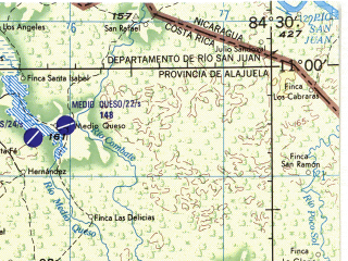 Reduced fragment of topographic map en--jog--250k--nc16-08--(1970)--N011-00_W086-00--N010-00_W084-30 in area of Golfo De Papagayo, Laguna De Arenal, Lago Cano Negro; towns and cities Liberia, Bebedero, Miramar, San Pablo