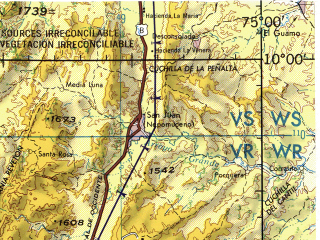 Reduced fragment of topographic map en--jog--250k--nc18-10--(1992)--N010-00_W076-30--N009-00_W075-00 in area of Golfo De Morrosquillo, Cga. Grande; towns and cities Sincelejo, El Carmen De Bolivar, Lorica, San Jacinto, San Antero