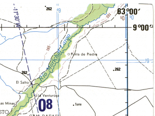 Reduced fragment of topographic map en--jog--250k--nc20-14--(1992)--N009-00_W064-30--N008-00_W063-00; towns and cities Ciudad Bolivar, El Tigre, San Tome, Soledad, La Conoa