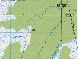 Reduced fragment of topographic map en--jog--250k--nc20-15--(1992)--N009-00_W063-00--N008-00_W061-30; towns and cities Ciudad Guayana, Upata, Paso Nuevo, Piacoa, Puerto Ordaz