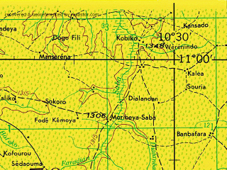 Reduced fragment of topographic map en--jog--250k--nc29-05--(1966)--N011-00_W012-00--N010-00_W010-30; towns and cities Dabola, Faranah, Passaya, Harounaia