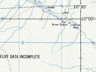Reduced fragment of topographic map en--jog--250k--nc32-11--(1972)--N010-00_E009-00--N009-00_E010-30; towns and cities Dokan Tofa, Dull, Gindiri