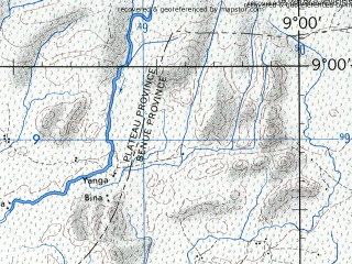 Reduced fragment of topographic map en--jog--250k--nc32-14--(1972)--N009-00_E007-30--N008-00_E009-00; towns and cities Laminga, Gidan Rai, Uke
