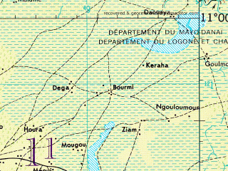 Reduced fragment of topographic map en--jog--250k--nc33-06--(1966)--N011-00_E013-30--N010-00_E015-00; towns and cities Maroua, Hinda Vinde, Laf, Getale