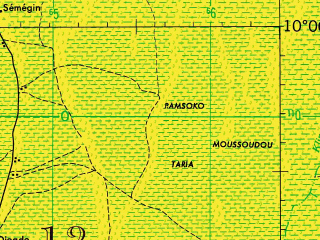 Reduced fragment of topographic map en--jog--250k--nc33-11--(1966)--N010-00_E015-00--N009-00_E016-30; towns and cities Gabri Ngolo, Gounougale Dougssigui, Boudourr