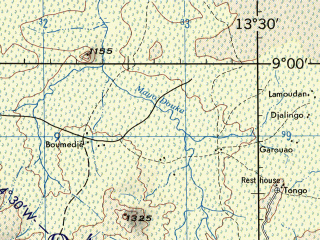 Reduced fragment of topographic map en--jog--250k--nc33-13--(1972)--N009-00_E012-00--N008-00_E013-30; towns and cities Mayo Faran, Nyaouredou, Sugu