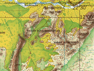 Reduced fragment of topographic map en--jog--250k--nc34-03--(1966)--N012-00_E021-00--N011-00_E022-30; towns and cities Djimez, Rafa, Seifou