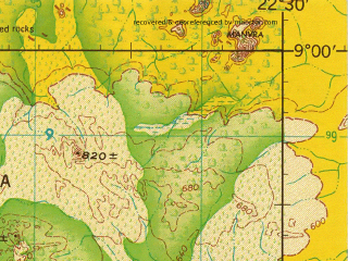 Reduced fragment of topographic map en--jog--250k--nc34-15--(1966)--N009-00_E021-00--N008-00_E022-30; towns and cities Ouadda, Vasso