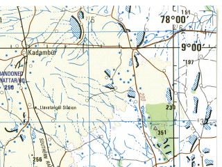 Reduced fragment of topographic map en--jog--250k--nc43-16--(1985)--N009-00_E076-30--N008-00_E078-00; towns and cities Trivandrum, Nagercoil, Tiruneveli, Quilon, Melapalaiyam