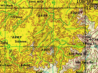 Reduced fragment of topographic map en--jog--250k--nc48-04--(1972)--N012-00_E106-30--N011-00_E108-00; towns and cities Xa Phuong Lam, Ben Co, Xa Vo Dat