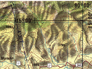 Reduced fragment of topographic map en--jog--250k--nd15-08--(1996)--N015-00_W091-15--N013-35_W090-00; towns and cities Ciudad De Guatemala, Esquintla, Amatitlan, Antigua Guatemala, Palin