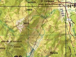 Reduced fragment of topographic map en--jog--250k--nd16-10--(1987)--N014-00_W088-30--N013-00_W087-00 in area of Laguna De Olomega; towns and cities Choluteca, San Miguel, La Union, Usulutan, Jucuapa