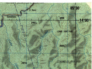 Reduced fragment of topographic map en--jog--250k--nd16-11--(1996)--N014-00_W087-00--N013-00_W085-30 in area of Lake De Apanas; towns and cities Esteli, Jinotega, Condega, Sacramento, Garrobo
