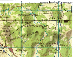 Reduced fragment of topographic map en--jog--250k--nd16-15--(2000)--N013-00_W087-40--N012-00_W086-05 in area of Lake De Managua; towns and cities Managua, Leon, Chinandega, El Viejo, Chichigalpa