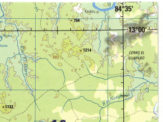 Reduced fragment of topographic map en--jog--250k--nd16-16--(1996)--N013-00_W086-05--N012-00_W084-35; towns and cities Matagalpa, Juigalpa, Camoapa, Tisma, Santa Fe