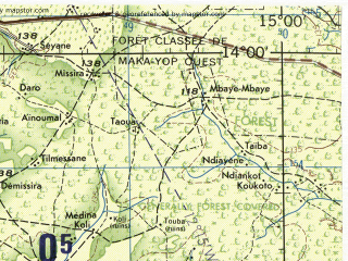 Reduced fragment of topographic map en--jog--250k--nd28-10--(1966)--N014-00_W016-30--N013-00_W015-00; towns and cities Kerewan, Pate Tiangaye, Brefet